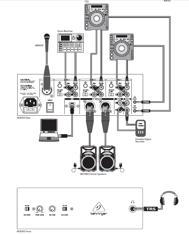 百灵达 beheringer pro mixer nox202 百灵达nox202 专业dj调音台 dj