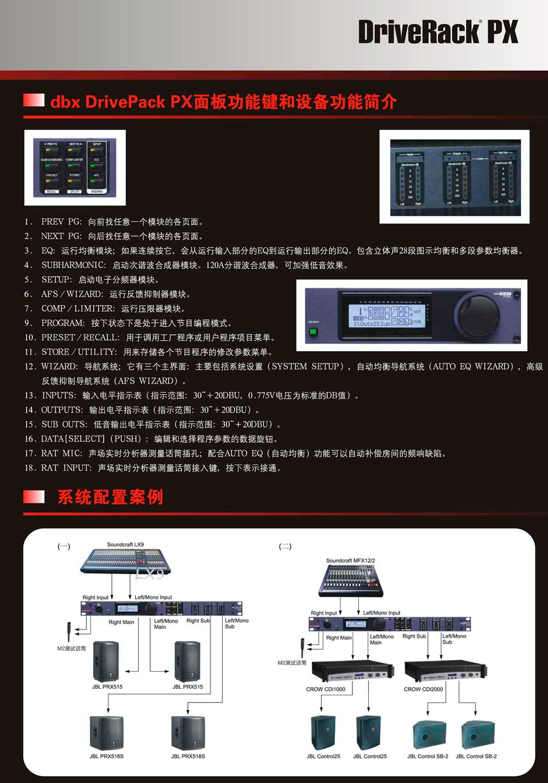 dbx driverack px 数字音频处理器 全新数字音频处理器