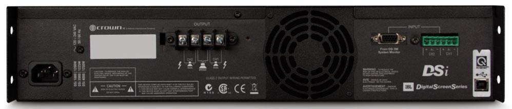 DSi 2000 专业功放 功率放大器 直观的前面板 LCD 显示屏可以通过预设的;内置数字处理器包含了分频,EQ 滤波,延时以及输出限制功能;可使用连接计算机通过 HiQnet 系统 Architect 软件对系统进行快速的安心和设置;每个通道的阻抗为4Ω时提供800W,8Ω  CROWN DSi 2000 特点: • 每个通道的阻抗为4Ω时提供800W叁种规格 • 自动预设 JBL 主流影院扬声系统,使设置变得轻松快捷 • 直观的前面板